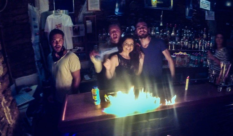 She asked them to light the bar on fire...so they did.