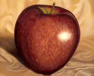 033-Red-Apple-Realism-Still-Life-Painting